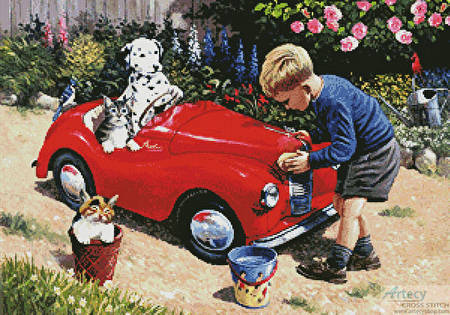 cross stitch pattern Cleaning the Car