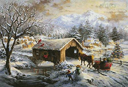 cross stitch pattern Covered Bridge in Winter