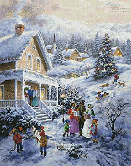 cross stitch pattern Carolers