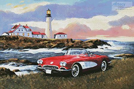 cross stitch pattern Corvette at the Coast