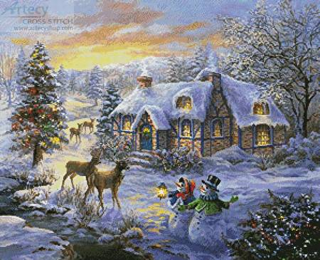 cross stitch pattern Cottage at Christmas
