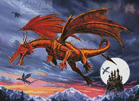 cross stitch pattern Dragon Flight
