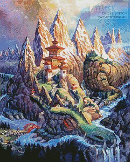 cross stitch pattern Dragon Mountain