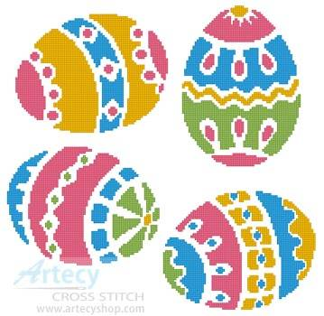 cross stitch pattern Four Easter Eggs