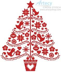 cross stitch pattern Folk Art Christmas Tree