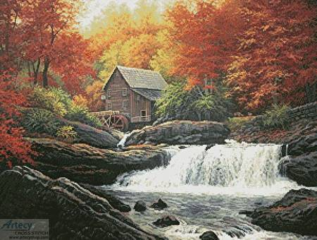 cross stitch pattern Glade Creek Grist Mill Painting