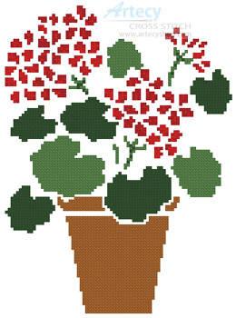 cross stitch pattern Geranium Pot