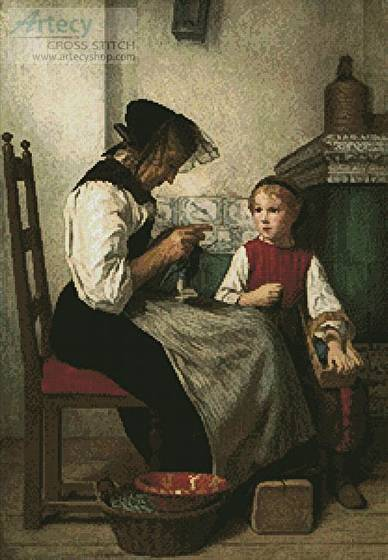 cross stitch pattern Grandmother and Young Girl