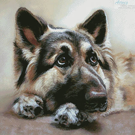 cross stitch pattern German Shepherd Painting 2