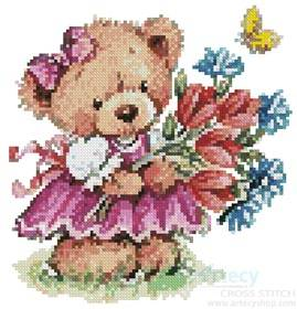 cross stitch pattern Girl Teddy with Flowers