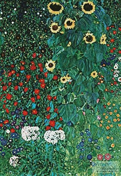 cross stitch pattern Garden with Sunflowers