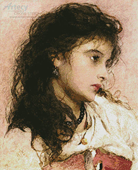 cross stitch pattern A Gypsy Girl