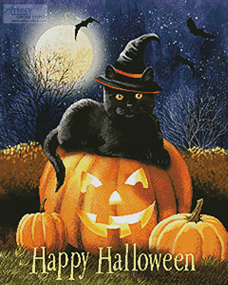 cross stitch pattern Happy Halloween Kitty