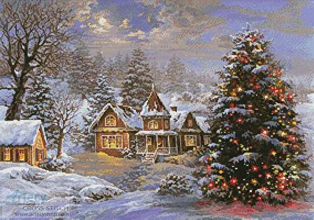 cross stitch pattern Happy Holidays Painting