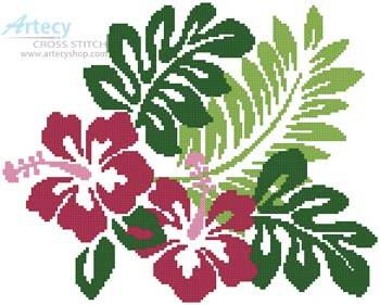 cross stitch pattern Hibiscus Flowers