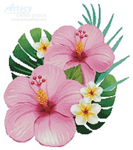 cross stitch pattern Hibiscus Arrangement 1