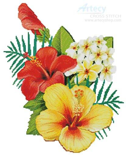 cross stitch pattern Hibiscus Arrangement 2