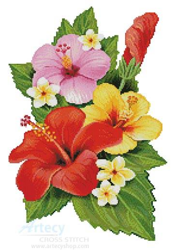 cross stitch pattern Hibiscus Arrangement 3