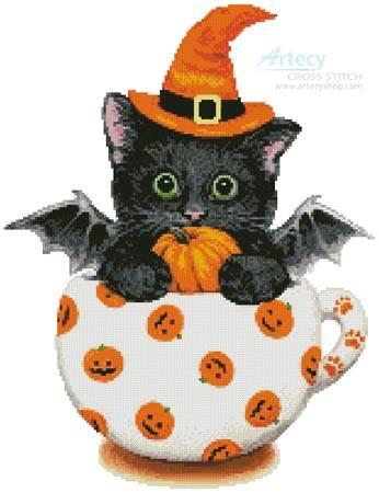 cross stitch pattern Halloween Kitty Cup