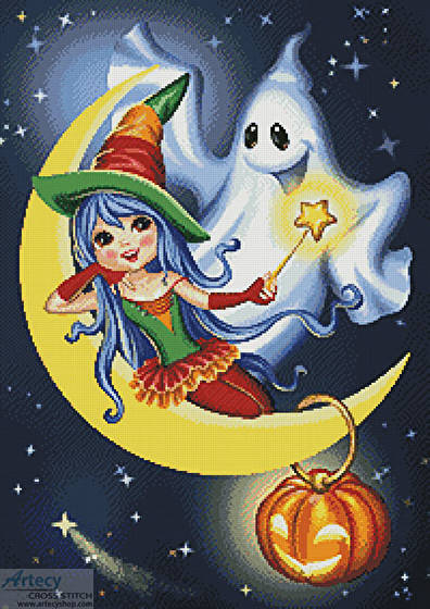 cross stitch pattern Halloween Friends