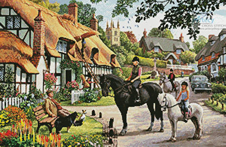 cross stitch pattern Horse Riders in the Village