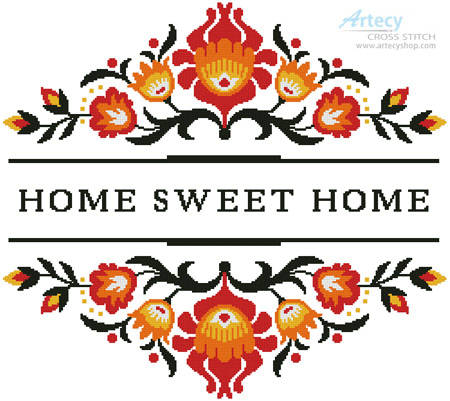 cross stitch pattern Home Sweet Home Polish Folk Art Design 1