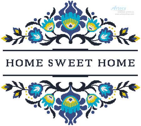 cross stitch pattern Home Sweet Home Polish Folk Art Design 2