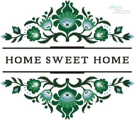 cross stitch pattern Home Sweet Home Polish Folk Art Design 4