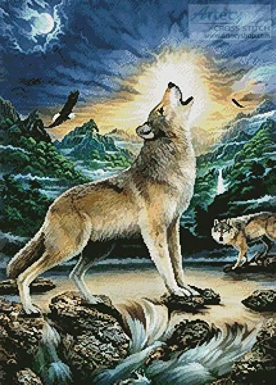 cross stitch pattern Howling Wolf