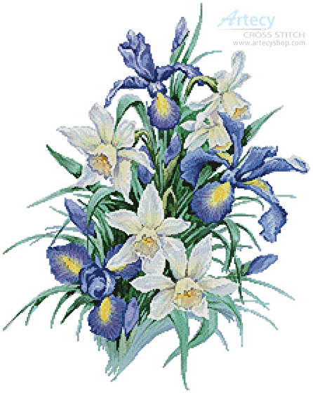 cross stitch pattern Irises Painting