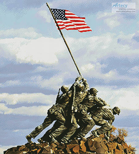 cross stitch pattern Iwo Jima Memorial