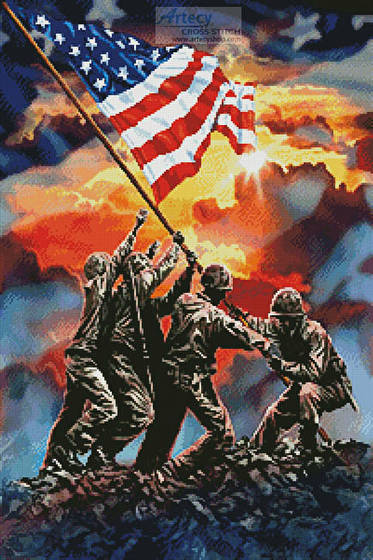 cross stitch pattern Iwo Jima Painting