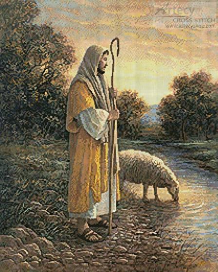 cross stitch pattern Jesus and Sheep