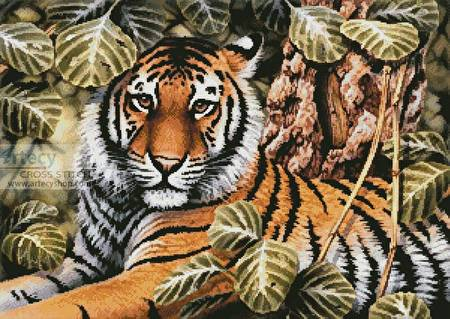 cross stitch pattern Jungle Tiger