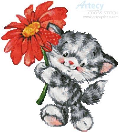 cross stitch pattern Kitty Flower