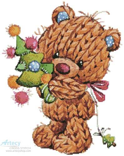 cross stitch pattern Knitted Christmas Teddy