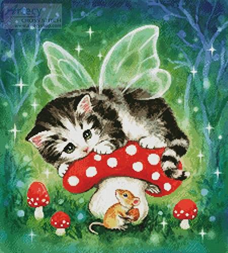 cross stitch pattern Kitten Fairy on Mushroom