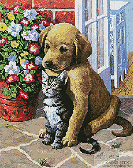 cross stitch pattern Labrador Pup and Kitten