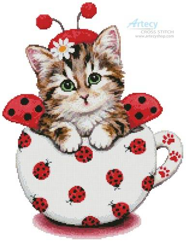 cross stitch pattern Ladybug Kitty Cup