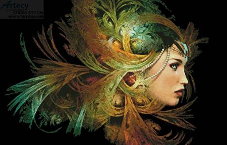 cross stitch pattern Lady with Elegant Headdress