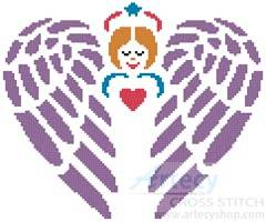 cross stitch pattern Little Guardian Angel