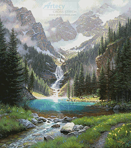 cross stitch pattern Lake Solitude