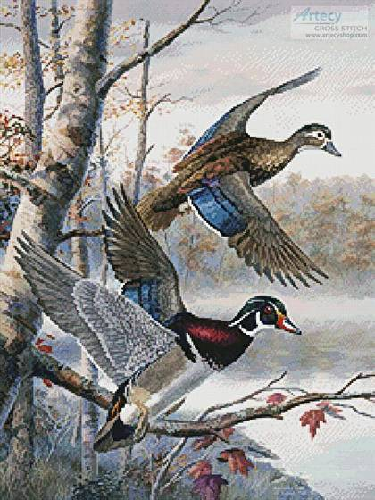cross stitch pattern Lakeside Wood Ducks