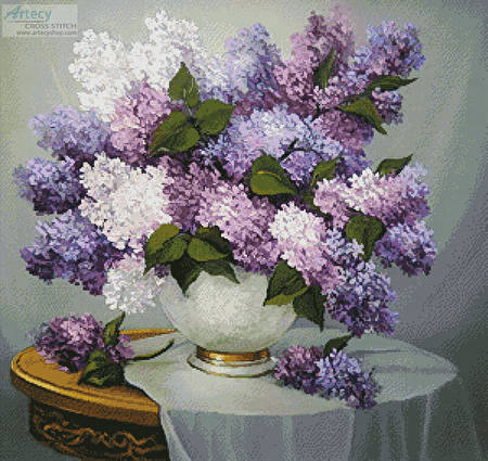 cross stitch pattern Lilac Romance