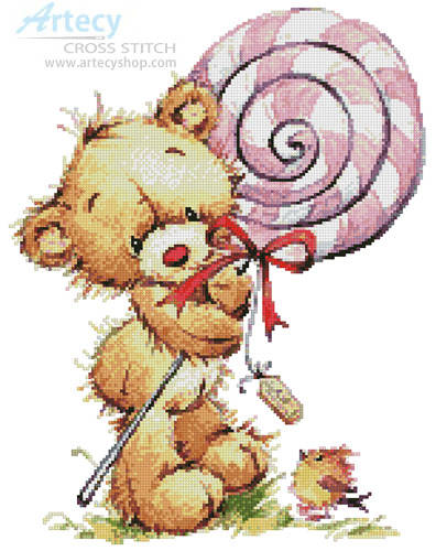 cross stitch pattern Lollypop Bear