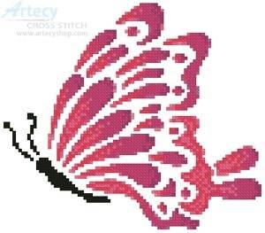 cross stitch pattern Little Pink Butterfly