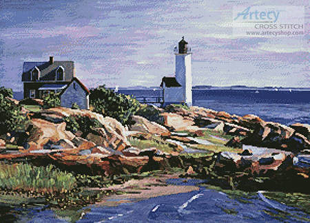 cross stitch pattern Maine Lighthouse