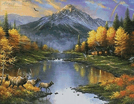 cross stitch pattern Mountain Retreat