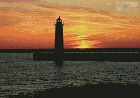cross stitch pattern Muskegon Lighthouse at Sunset