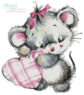 cross stitch pattern Mouse with Heart